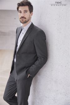 Signature Check Regular Fit Suit: Jacket