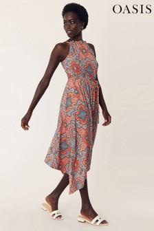 Oasis Multi Orange Paisley Maxi Dress