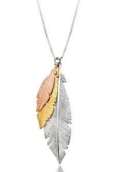Beaverbrooks Three Colour Silver and Gold Plated Feather Necklace