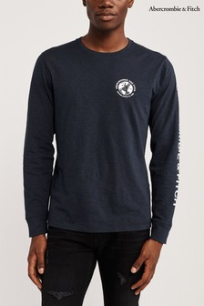 Abercrombie And Fitch Navy Long Sleve Logo T-Shirt