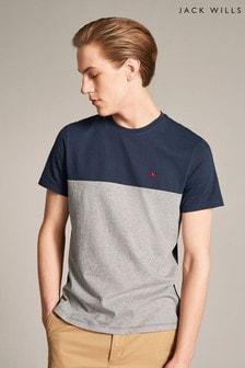 Jack Wills Navy Westmore Colourblock T-Shirt