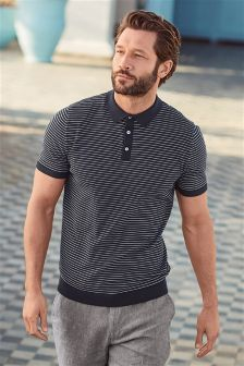 Stripe Short Sleeve Knitted Polo