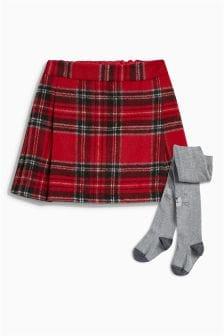 方格苏格兰短裙,附赠人物印花紧身裤 (3个月-6岁)