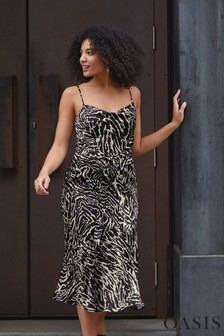 Oasis Black/White Zebra Cowl Bias Cut Midi Dress