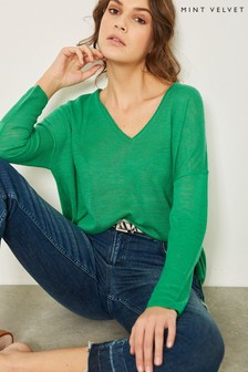 Mint Velvet Green Lightweight V-Neck Knit