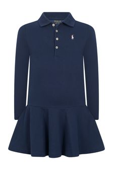 Girls Navy Cotton Long Sleeve Polo Dress