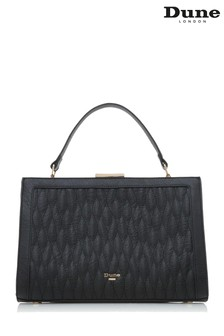 Dune London Black Dequilt Large Quilted Frame Bag