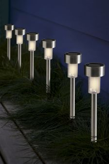 Garden lights outdoor lanterns solar garden lights next set of 6 stainless steel path finders aloadofball Image collections