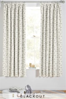 Happy Elephants Blackout Pencil Pleat Curtains