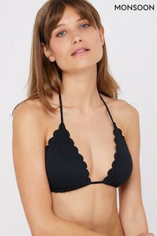 Monsoon Ladies Black Maria Scalloped Bikini Top