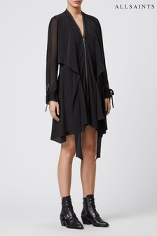 AllSaints Black Silk Jayda Dress
