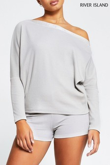 River Island Grey Light Asym Off Shoulder Sweater