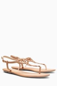 Skórzane plecione sandały z odkrytym palcem