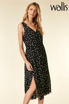 Wallis Black Spot Roulot Midi Dress