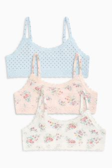 Polka Floral Crop Tops Three Pack (5-16yrs)