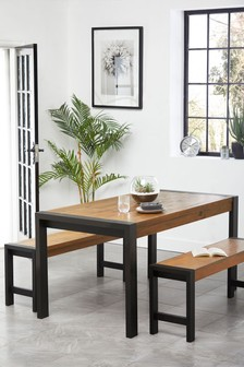 Hudson Dining Table and Bench Set
