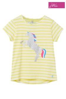Joules Yellow Stripe Horse Pixie Screenprint T-Shirt