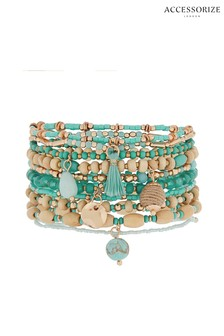 Accessorize Blue Positano Stretch Bracelet Pack