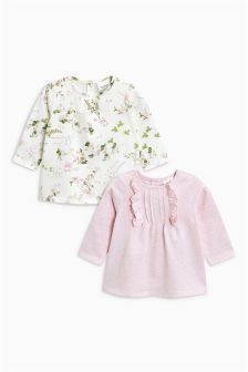 Frill And Floral T-Shirts Two Pack (0mths-2yrs)