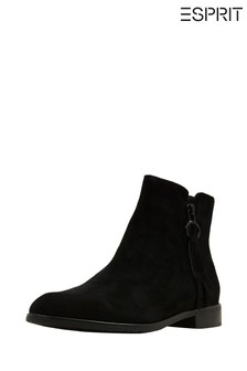 Esprit Black Chelsea Bootie Suede Ankle Boots With Zip On The Inside
