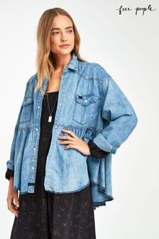 Free People Mid Blue Denim Babydoll Shirt