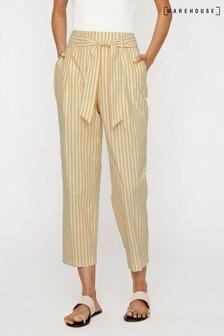 Warehouse Yellow Stripe Cotton Peg Trouser