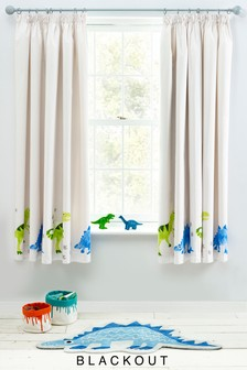 Ben The Dino Pencil Pleat Curtains