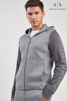 Armani Exchange Grey Logo Zip Through Hoody