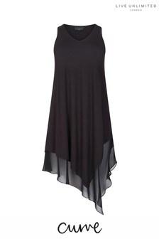 Live Unlimited Black Waterfall Hem Dress