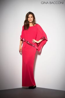 Gina Bacconi Red Tiffany Sequin Trim Cape Maxi Dress