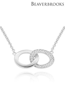 Beaverbrooks Silver Cubic Zirconia Circle Necklace