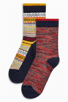 Fairisle Pattern Socks Two Pack (Older)