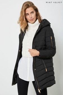 Mint Velvet Black Hooded Padded Parka Coat