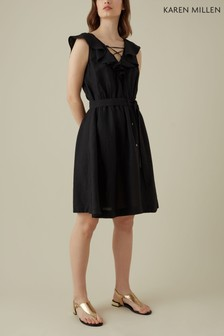 Karen Millen Black Ruffle Lacing Detail Dress