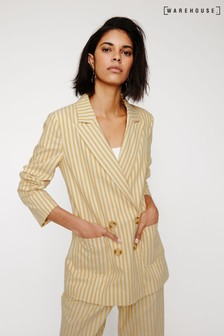 Warehouse Yellow Stripe Cotton Blazer