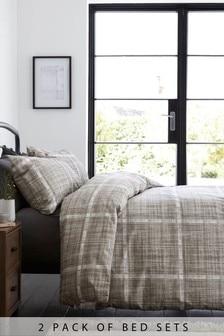 Teksturowany 2-elementowy komplet poszwy na kołdrę i poszewki na poduszkę z nadrukiem