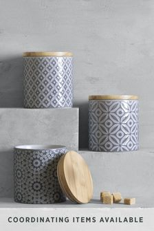 Set of 3 Grey Geo Ceramic Storage Jars