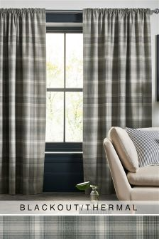 Cosy Check Pencil Pleat Blackout/Thermal Curtains