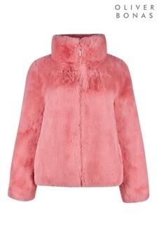 Oliver Bonas Blush Pink Faux Fur Coat