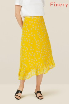 Finery London Yellow Ebba Floral Skirt