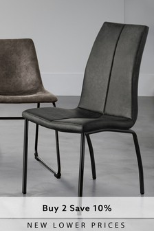 Set of 2 Opus Dining Chairs with Black Legs