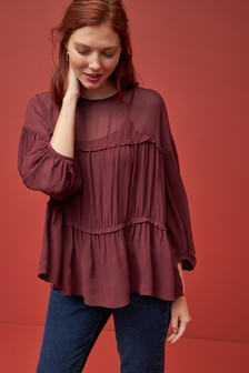 Long Sleeve Frill Tier Top