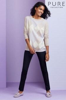 Pure Collection Purple Cashmere Boyfriend Sweater