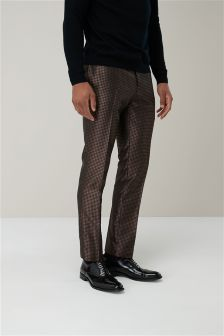Geometric Jacquard Skinny Fit Suit: Trousers