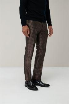 Костюмные брюки зауженного кроя с жаккардовым геометрическим узором