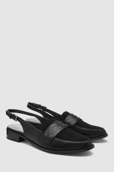 Studded Detail Slingback Loafers