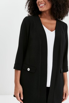 Evans Black Curve Button Crepe Jacket