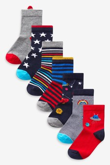 7 Pack Cotton Rich Rocket Space Socks (Younger)