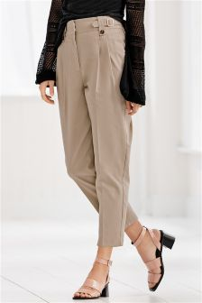 Cotton Buckle Carrot Trousers