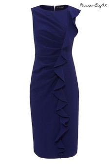 Phase Eight Blue Lana Frill Fitted Dress